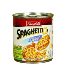27765335 - spencer , wisconsin-april 24, 2014 : can of campbell's spaghettios. campbell's is an american producer of canned soups and related products. it was founded in 1869