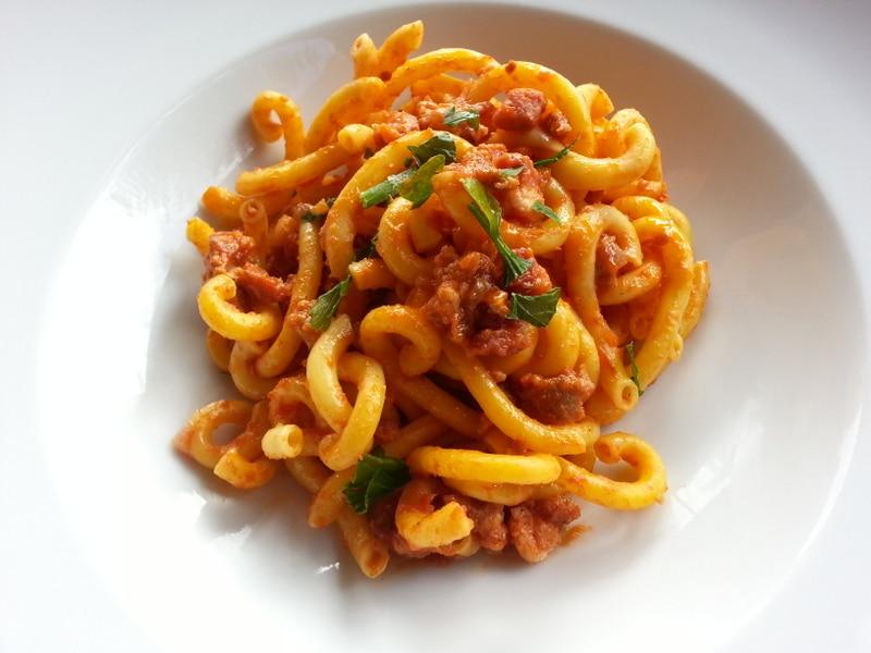 Gramigna with sausage
