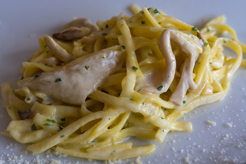 Tagliolini with cream and porcini mushrooms