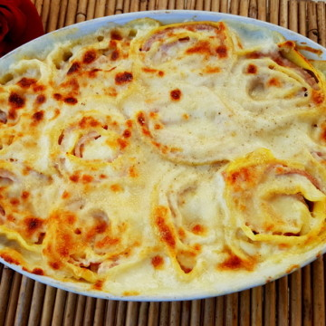 Baked pasta roses