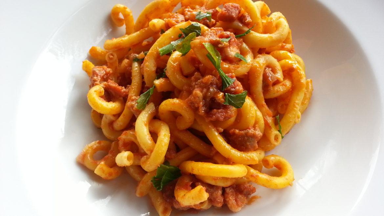 Gramigna with sausage salsiccia