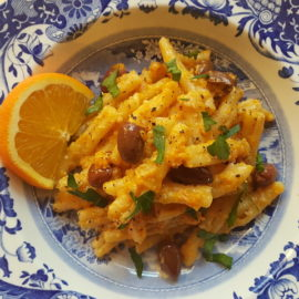 casarecce pasta with pumpkin and orange pesto
