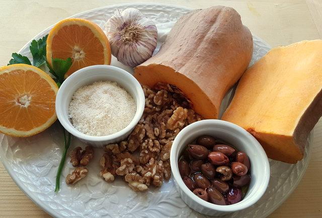 casarecce pasta with pumpkin and orange pesto