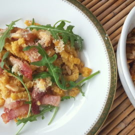 passatelli with pancetta and pine nuts