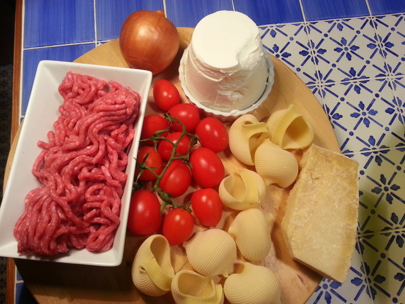 Some of the ingredients for my stuffed lumaconi pasta