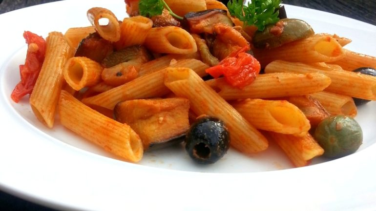 Penne with aubergine