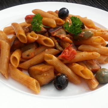 penne with aubergine and pine nuts