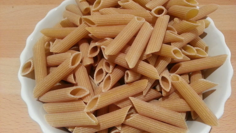 whole wheat penne rigate (grooved)