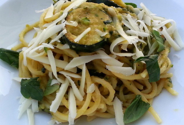 Spaghetti alla Nerano spaghetti with fried zucchini