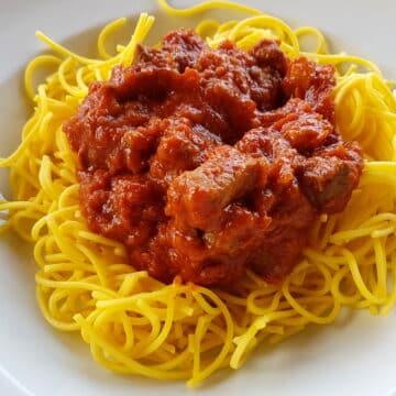 4 meat ragu with spaghetti alla chitarra