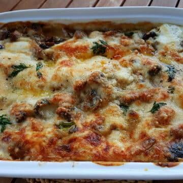 Lasagne al forno mushrooms and burrata