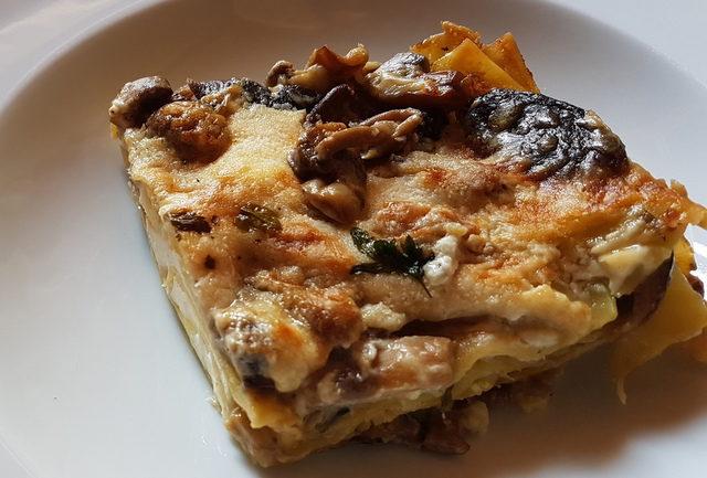 Lasagne bianca with mushrooms and burrata
