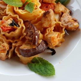 Reginette pasta with swordfish