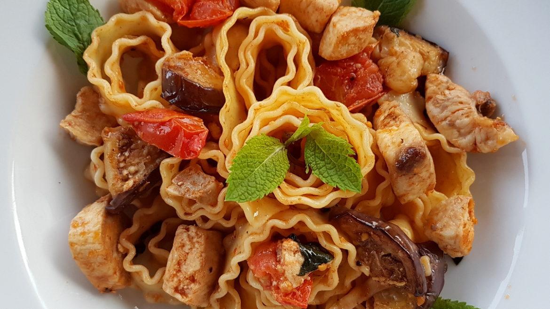 Reginette Mafaldine pasta with swordfish