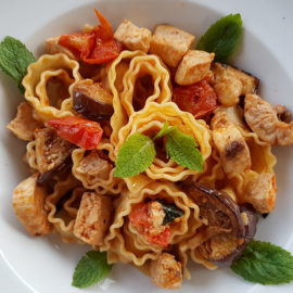 Reginette Mafaldine pasta with swordfish