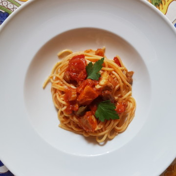 Seafood pasta recipes spaghetti with Baccalà (salt cod)