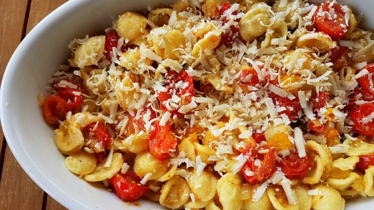 orecchiette pasta with roasted tomatoes a