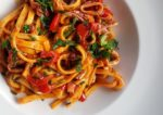 Pasta with calamari and datterini tomatoes