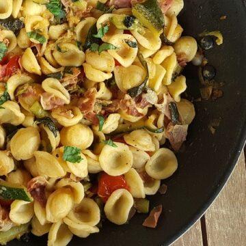 Orecchiette pasta with zucchini and speck