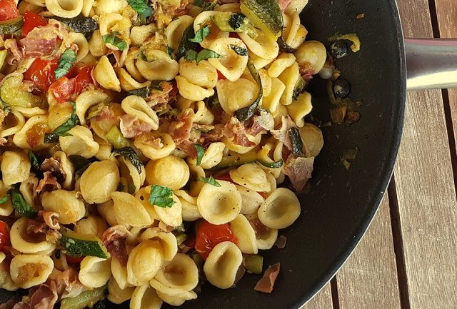 Orecchiette pasta with zucchini and speck
