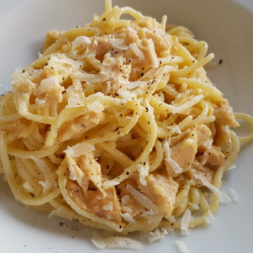 alla chitarra pasta with tuna carbonara
