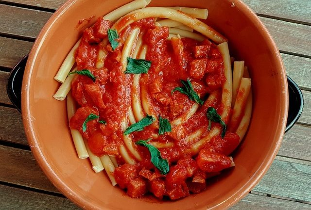 Baked Ziti or Zitoni pasta with spicy sausage. - The Pasta ...