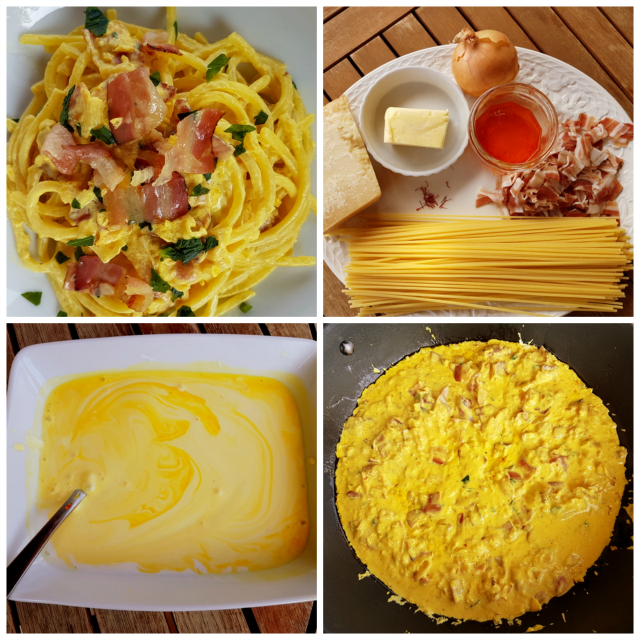pasta with saffron and pancetta