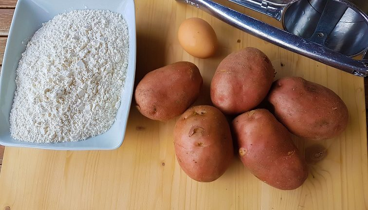 ingredients for homemade Italian potato gnocchi