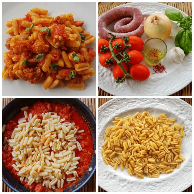 Sardinian Gnocchi -Malloreddus with sausage, tomatoes and saffron alla campidanese