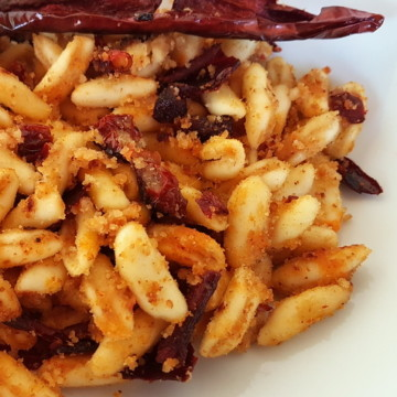 cavatelli pasta with peperoni cruschi (Senise peppers)