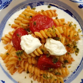 fusilli pasta with tomatoes, basil & burrata cream
