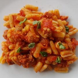 malloreddus with sausage, tomatoes and saffron alla Campidanese