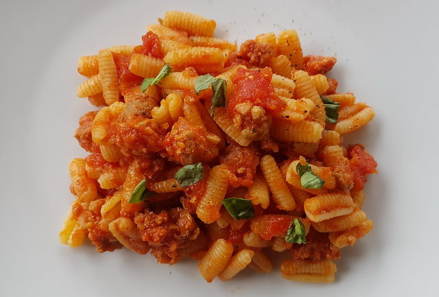 malloreddus with sausage, tomatoes and saffron Sardinia