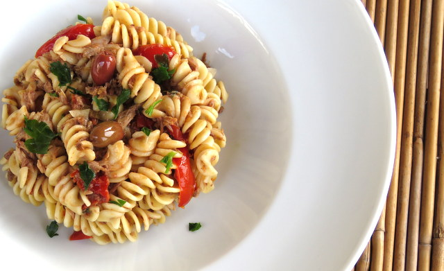 fusilli pasta with black olive pesto