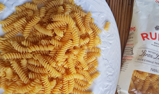 fusilli pasta with black olive pesto