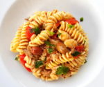 Fusilli pasta with black olive pesto and tuna.
