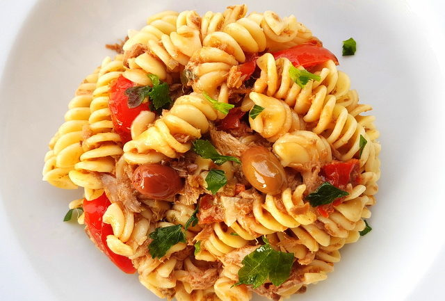 fusilli pasta with canned tuna and black olive pesto