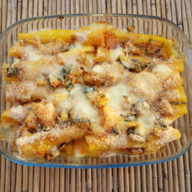 Baked trescatori pasta with pumpkin and zucchini