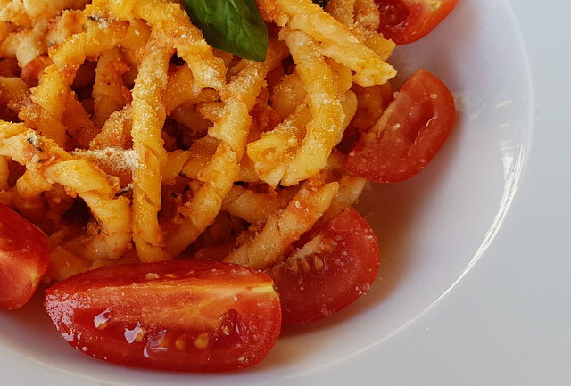 Busiate pasta with Trapanese pesto from Trapani