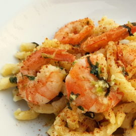 Busiate pasta with bottarga and prawns