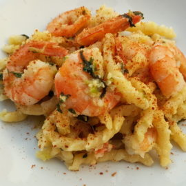 Busiate pasta with bottarga and prawns