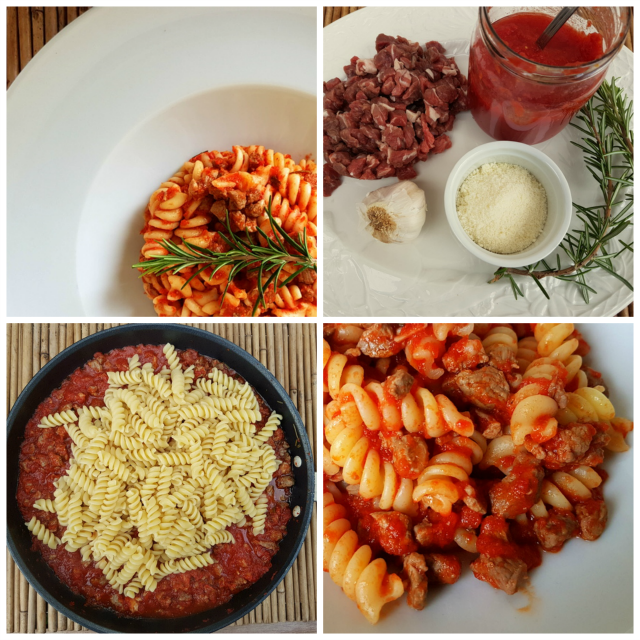 Fusilli pasta with lamb ragu