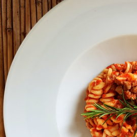 Fusilli pasta with lamb ragu from Molise