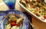 Baked conchiglioni pasta shells with spinach and ricotta