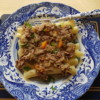 Ziti Pasta with la Genovese ragu; recipe from Naples.