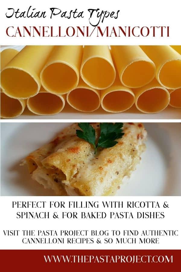 Pasta Types - Cannelloni or Manicotti