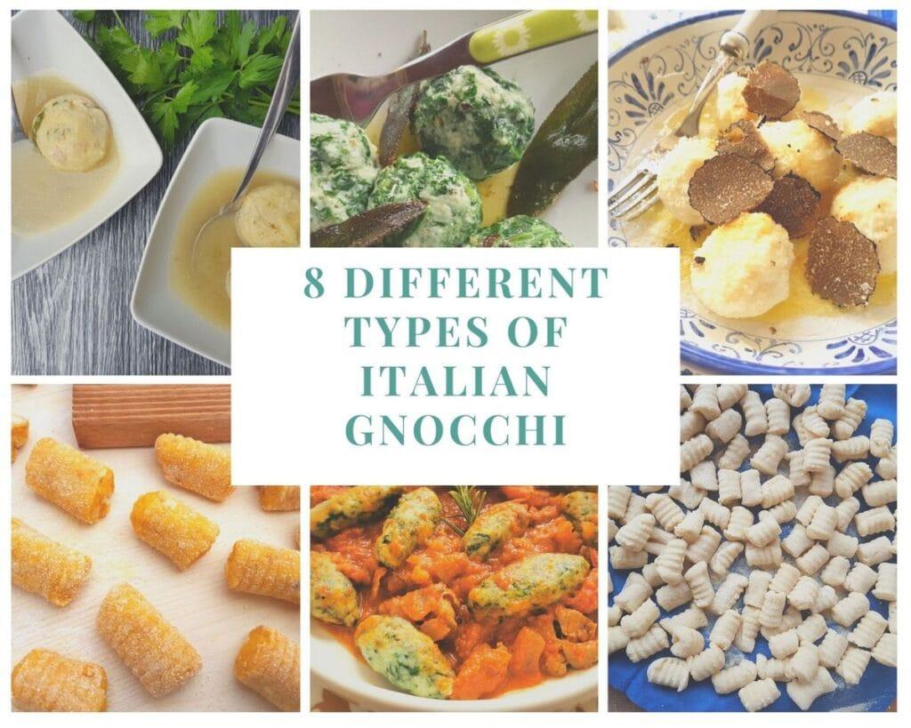 Different types of Italian gnocchi