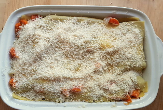Baked Lasagne in Broth alla Molisana ready for the oven