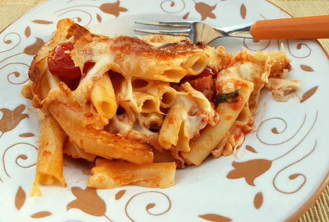 Baked Ziti or Zitoni pasta with spicy sausage