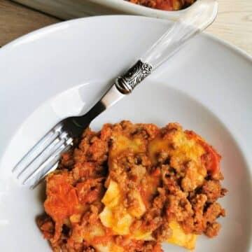 Baked fazzoletti pasta from Abruzzo (fregnacce Abruzzesi)